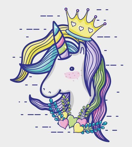 Dessin animé mignon de licorne magique et fantastique