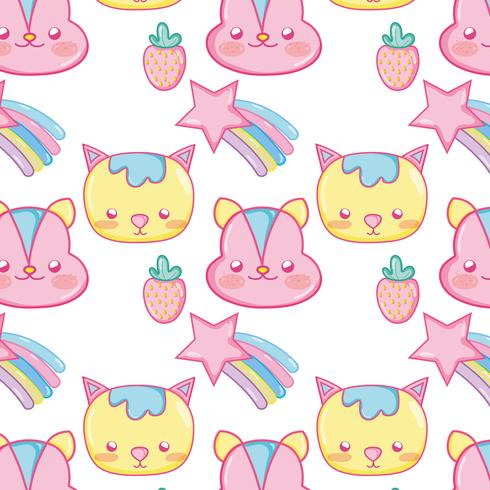 Motif de fond Punchy pastel animaux mignons
