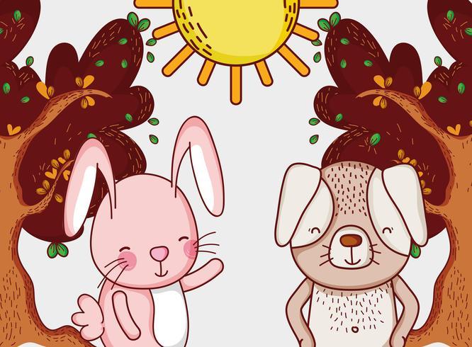 Conejito y perro en bosque dibujos animados doodle