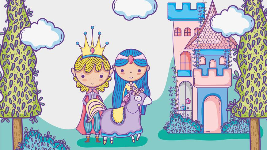 Princess and princess cute hand drawing cartoon man with sunglasses and dollar symbol inside chat bubble