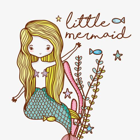 Little mermaid cute cartoon