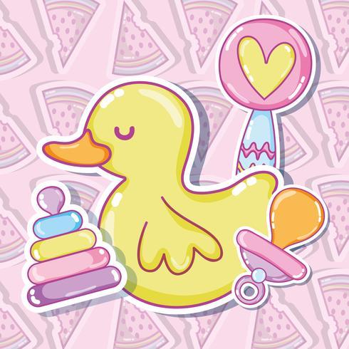 Söt ducky med leksaker