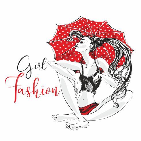Chica de moda. Paraguas rojo con lunares. Presentación modelo de la mujer. Chica descalza. Vector.