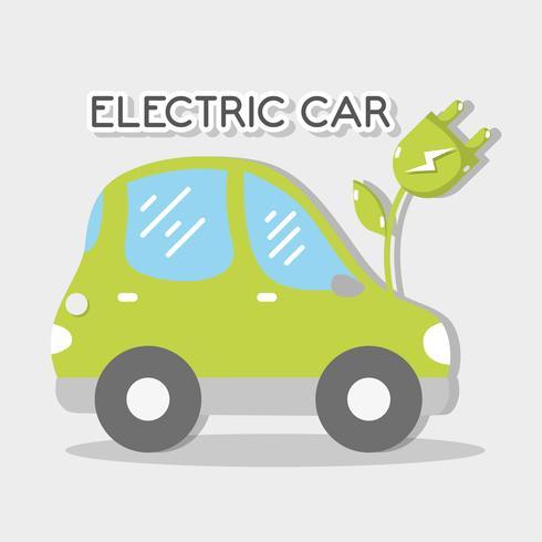 ekologisk elbil med strömkabel