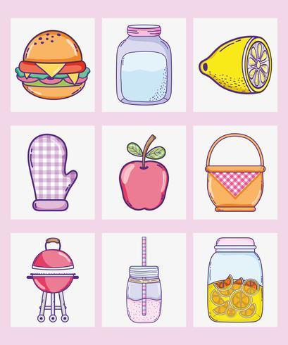 Dessins de collection de nourriture d'été