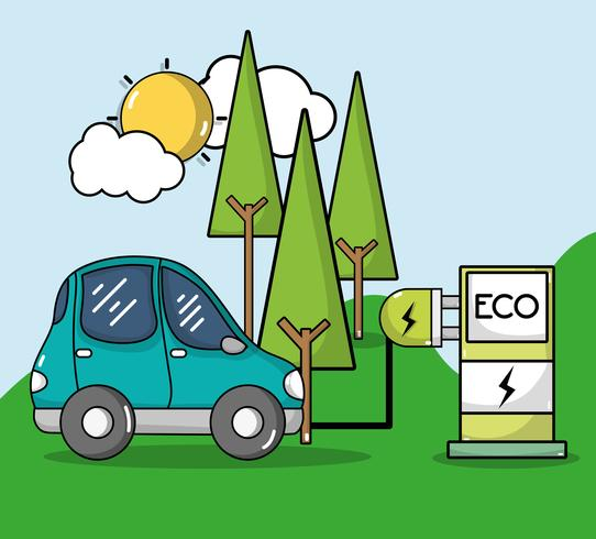 Estación de recarga energética con coche eléctrico.
