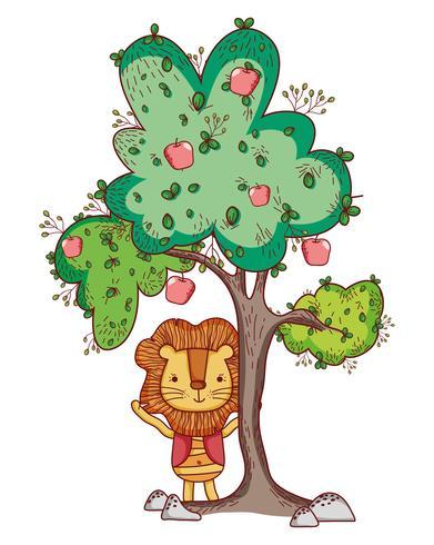 Lion i trädet söt tecknad