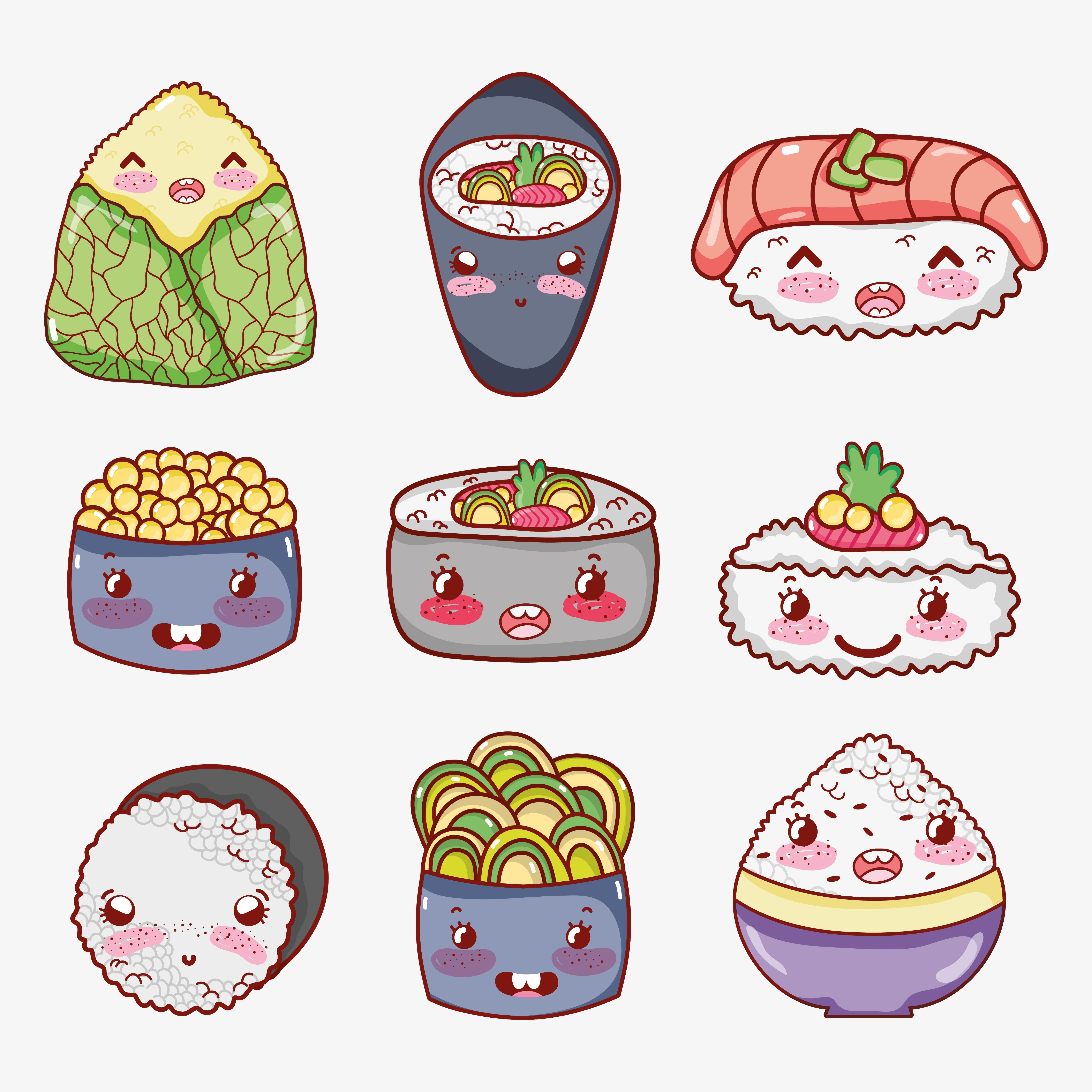 Asian food cute kawaii cartoon - Download Free Vectors ...