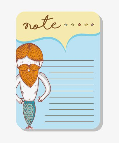 Note with mermaid cartoons