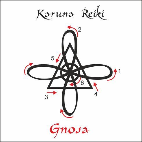 Karuna Reiki. Cura energética. Medicina alternativa. Símbolo De Gnosa. Prática espiritual. Esotérico. Vetor