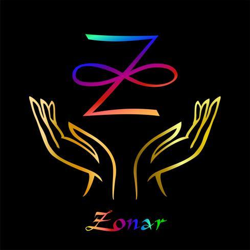 Karuna Reiki. Energy healing. Alternative medicine. Symbol Of Zonar. Spiritual practice. Esoteric.Open palm. Rainbow color. Vector