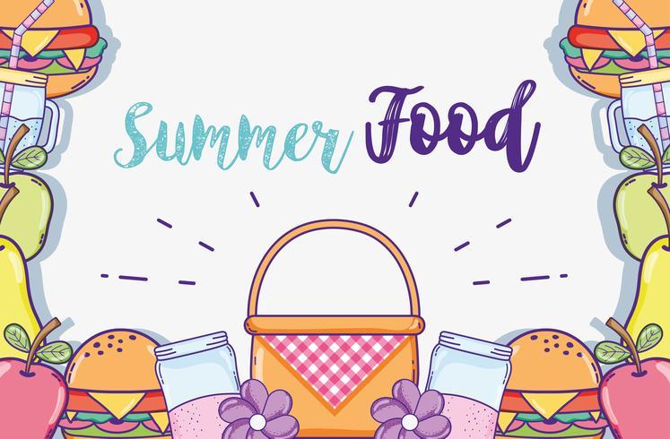 Summer food cartoons vector