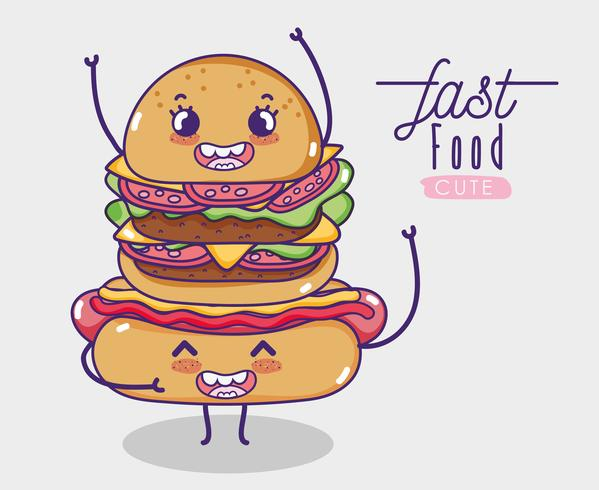 Hot dog con il fumetto di kawaii dell'hamburger