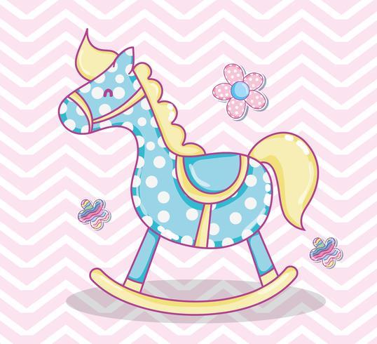 Dibujos animados lindo caballo de madera vector