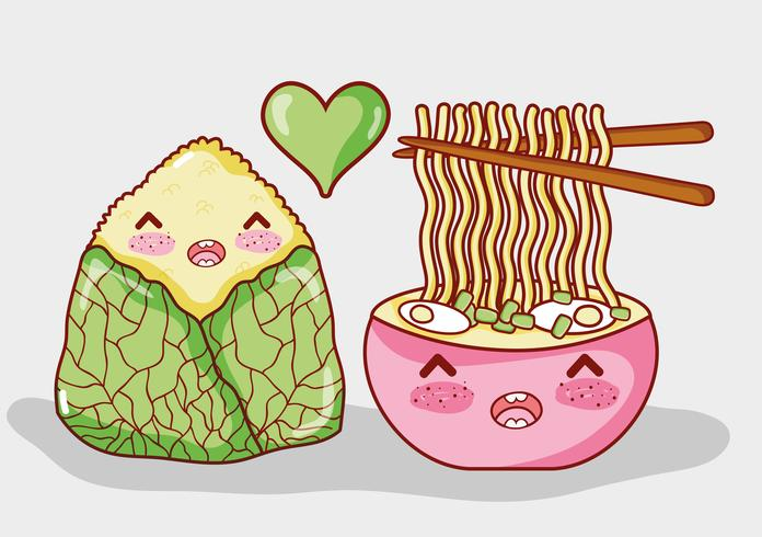 Aziatisch eten schattig kawaii cartoon
