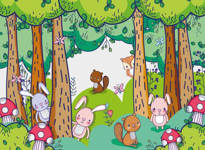 Animales en el bosque garabatos dibujos animados