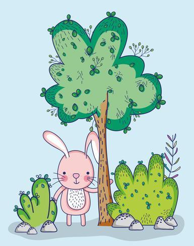 Bunny in bos doodle cartoon