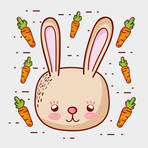 Söt kanin med morötter klotter tecknade