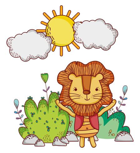 Lion in the forest doodle cartoons