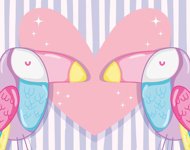 Punchy pastel tucans in love