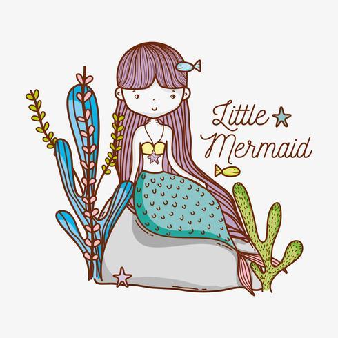 Little mermaid on stone