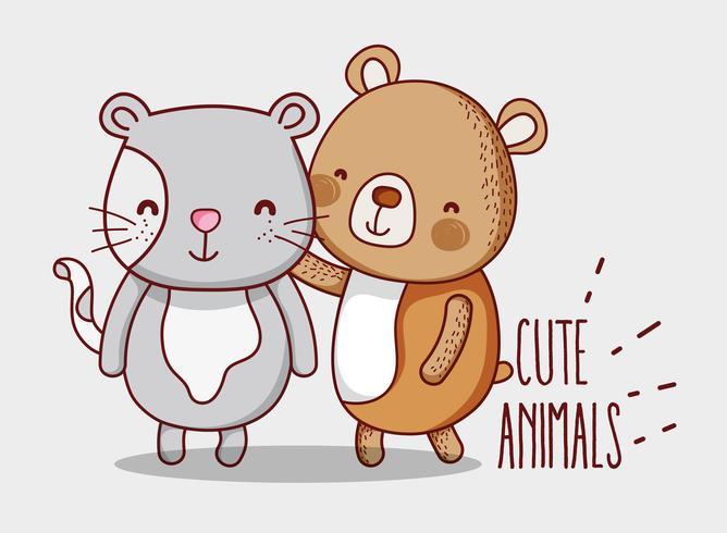 Dessins de griffonnage ours et chat