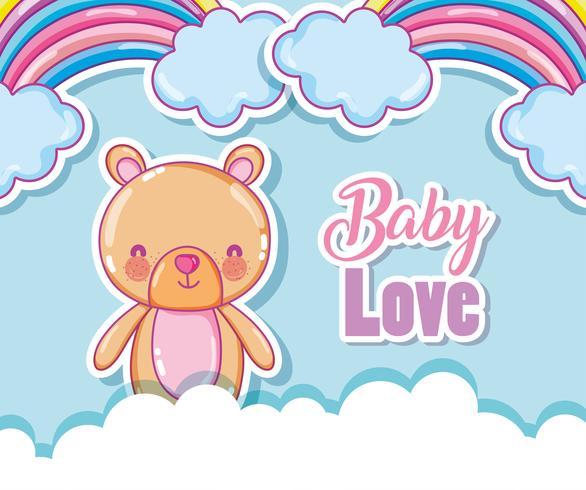 Bebé amor dibujos animados arco iris
