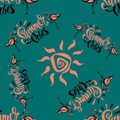 Sömlöst mönster. Flamingo. Sommarviber. Text. Snyggt sommarutskrift. Tropisk. Grön bakgrund. Vektor. vektor