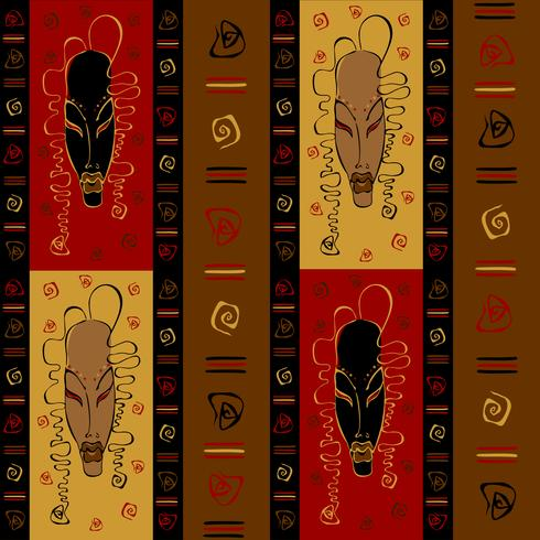 Seamless pattern with tribal African masks. Ethnic ornament. Vector.