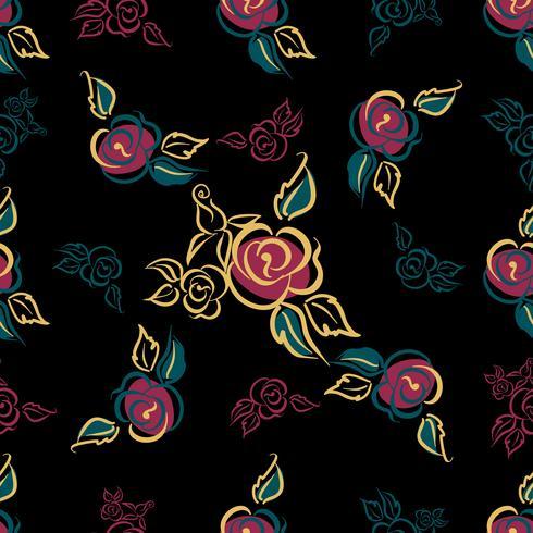 Modello senza soluzione di continuità Stampa floreale. Rose. mazzi di fiori. Decorativo. Sfondo nero. Vettore.