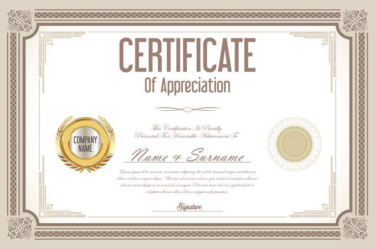 certificado con ilustración vectorial