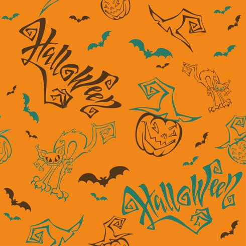 Seamless pattern. Halloween. Lettering. Funny cartoon pumpkin monster in witch hat. Bat. Cat monster. Orange background.Vector.