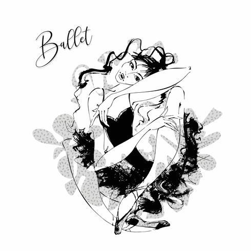 Ballerina. Cabaret dancer. Moulin Rouge. Dancing. Vector illustration.