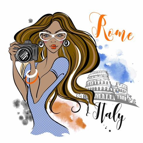 Girl tourist travels to Rome in Italy. Photographer. Travel. Vector