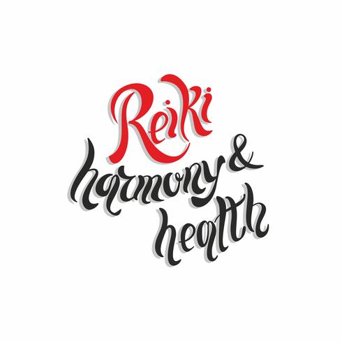Harmonie et santé Reiki. Phrase de lettrage. Médecine douce. Pratique spirituelle. Vecteur.