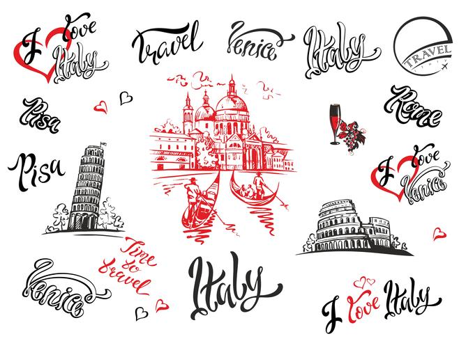 Italien. Venedig, Rom, Pisa. Sats med element för design. Katedral. Coliseum. tornet i Pisa. skisser. Text. Gondoler. Druva. Vin. Vektor illustration.