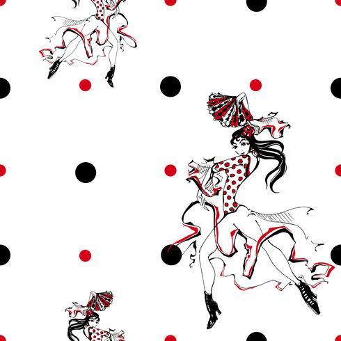 Ragazza, ballo, flamenco Modello senza soluzione di continuità Gypsy. Sfondo a pois. Bianca. Vettore. vettore