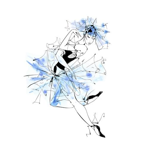 RGBBallerina. Ballet. Dancing girl on Pointe shoes. Watercolor Vector illustration.