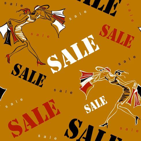 Naadloos patroon. Verkoop. Winkelen ter plaatse. Meisjes op winkelen. Vrolijke print gewijd aan verkoop en kortingen in winkels. Vector illustratie.