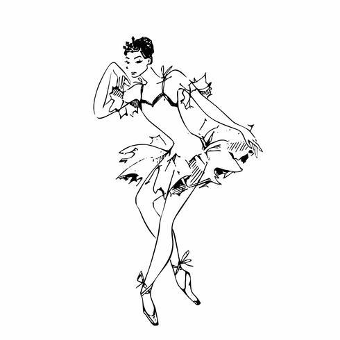 Ballerina. Vit svan. Balett. Dansa. Vektor illustration.