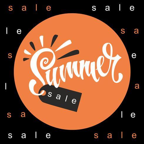 Solde d'été. Caractères. Soleil et rayons. Tag design pour remise. Shopping sur place. Illustration vectorielle