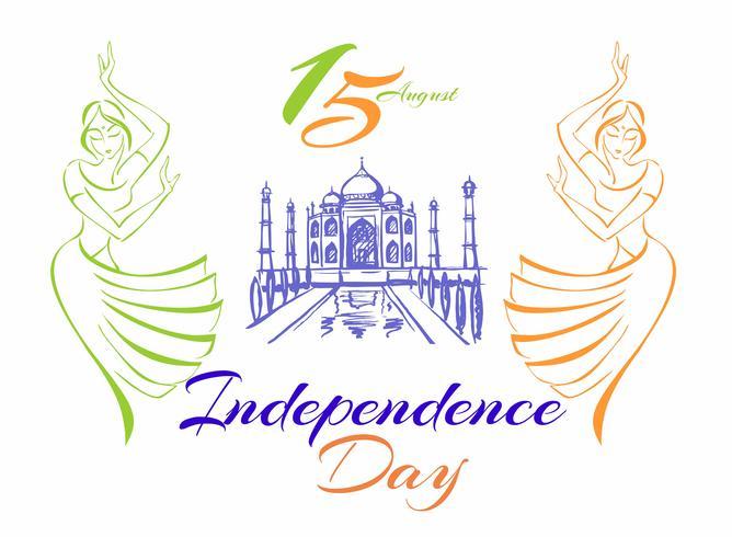 Día de la independencia de la India. Tarjeta de felicitación. Chicas indias bailando. Taj Mahal Palace. Ilustracion vectorial