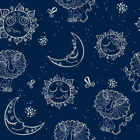 A fun seamless pattern for kids. Zodiac sign Leo. Vector