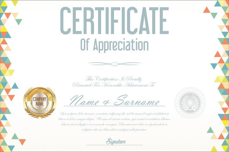 certificat avec illustration vectorielle