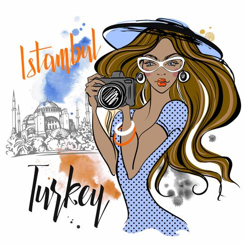 The girl travels to Turkey and photographs the sights . Istanbul Hagia Sophia. Vector. vector