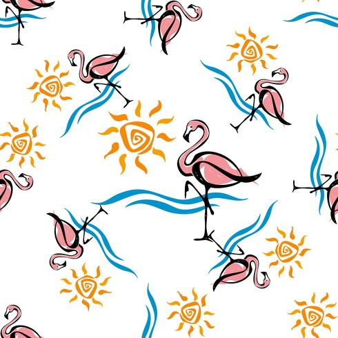 Patrón sin costuras Flamenco. Mar y sol. Tropical. Diseño de verano ilustración vectorial.
