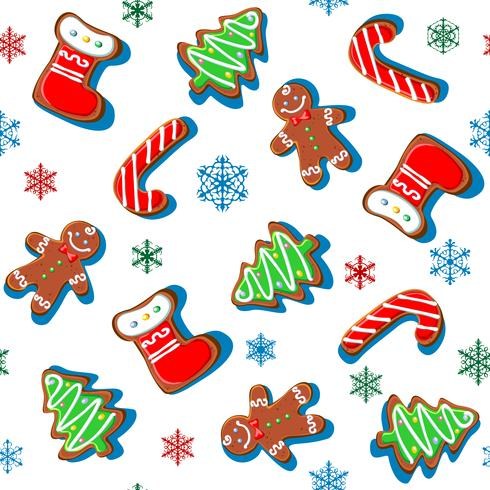 Gingerbread cookies with snowflakes. Christmas print. Seamless pattern. White. Vector