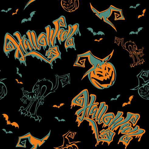 Seamless pattern. Halloween. Lettering. Funny cartoon pumpkin monster in witch hat. Bat. Cat monster. Vector.