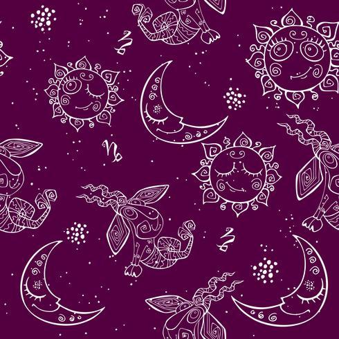 Een leuk naadloos patroon voor kinderen. Sterrenbeeld Steenbok. Vector.