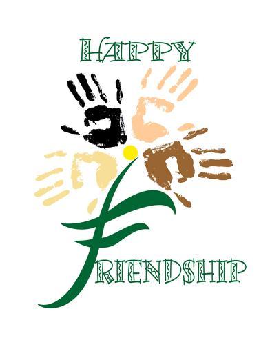 Dia de los amigos Tarjeta de vacaciones Huella de la mano Flor. Letras. Ilustracion vectorial